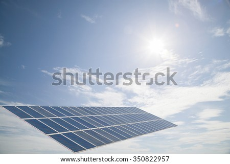 solar cell panel on  cloud blue sky , Energy saving concept