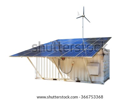 Solar cell Panels and wind turbine, produce power, green energy concept - stock photo