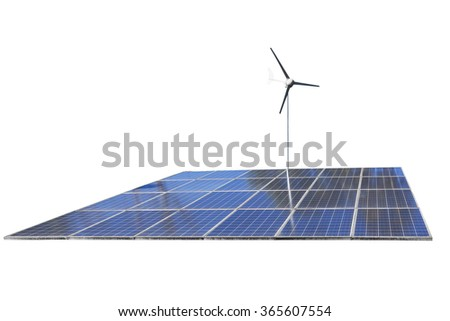 Solar cell Panels and wind turbine, produce power, green energy concept, isolated on white background - stock photo