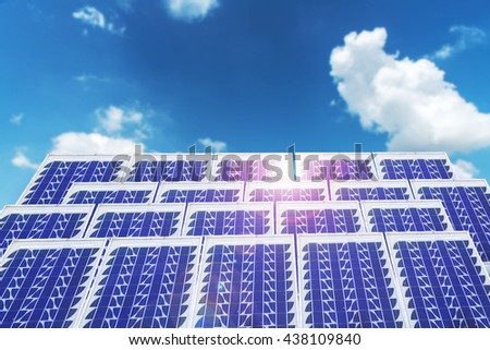 Solar cell panels in a photovoltaic power plant conceptual - stock photo