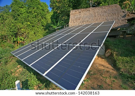 Solar cell panels in urban village, thailand