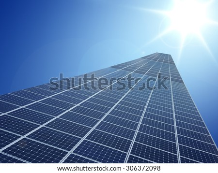 Solar cell power energy grid technology in  sky background design - stock photo