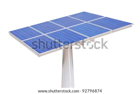 solar cells isolated on white background - stock photo