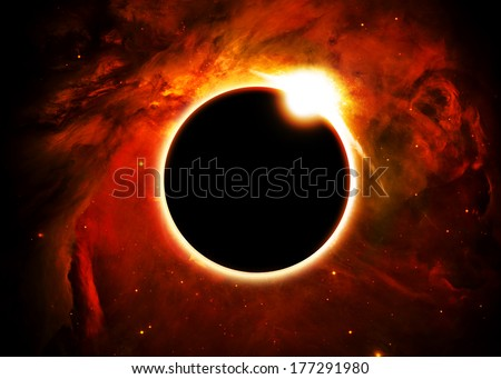 Solar Eclipse Above a Nebula- Elements of this image furnished by NASA - stock photo