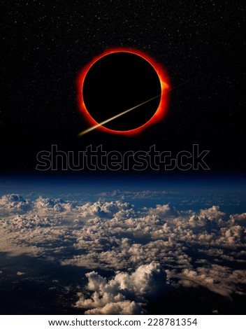 "Solar Eclipse ""Elements of this image furnished by NASA ""  - stock photo"