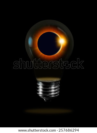 "Solar Eclipse in bulb ""Elements of this image furnished by NASA ""  - stock photo"
