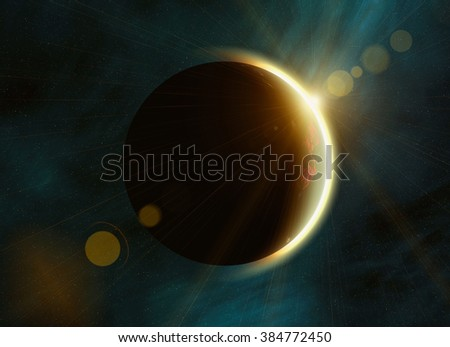solar eclipse on space stars backgrounds. This is no NASA photo, this render image with flare - stock photo