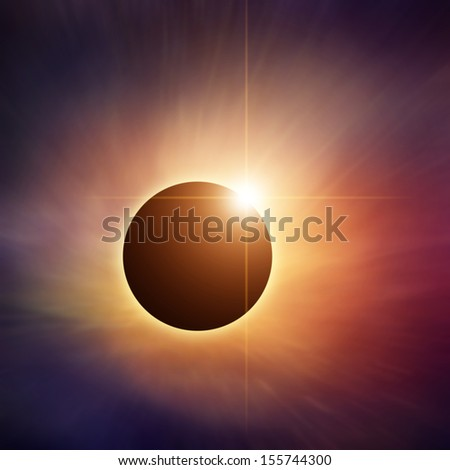 Solar Eclipse with colorful nebula on background - stock photo