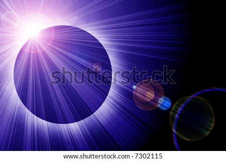 Solar eclipse with room for copy - stock photo