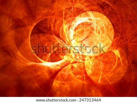 Solar energy. Abstract glowing futuristic blurred background with lighting effect for creative design. Shiny bright color image for wallpaper desktop, poster, cover booklet, flyer. Fractal art - stock photo
