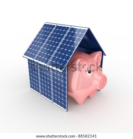 Solar energy concept.Isolated on white background.3d rendered.