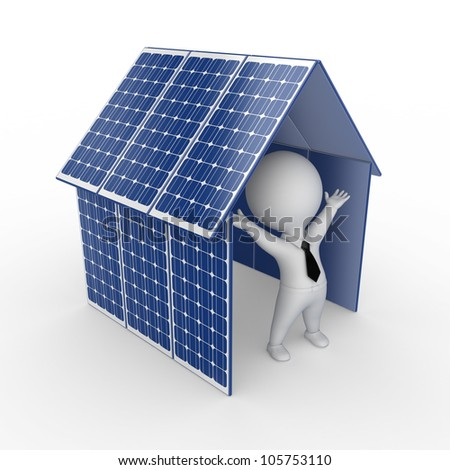 Solar energy concept.Isolated on white.3d rendered. - stock photo