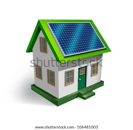 Solar energy house symbol on a white background as a residential icon of green renewable electricity from the sun being off the grid as money saving and ecological strategy.