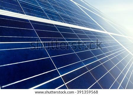 Solar energy panel close up - stock photo