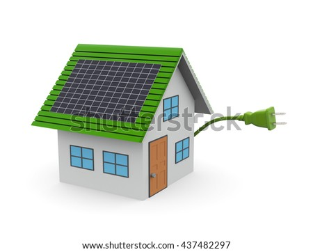 Solar energy panel.3D illustration