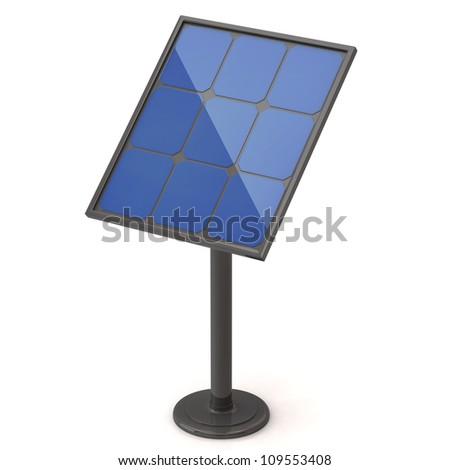 Solar energy panel isolated on white - stock photo
