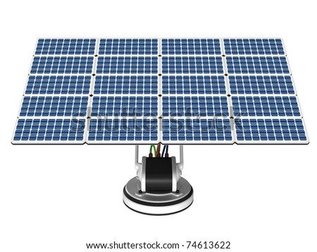 Solar energy panel on a white background. - stock photo
