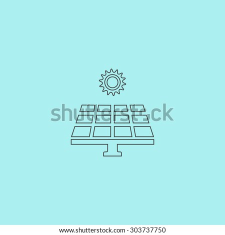 Solar energy panel. Outline simple flat icon isolated on blue background - stock photo