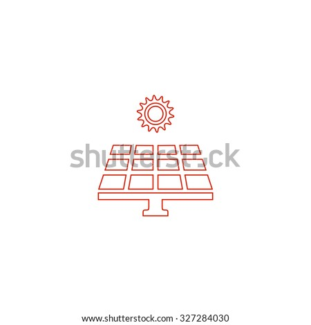 Solar energy panel. Red outline illustration pictogram on white background. Flat simple icon - stock photo