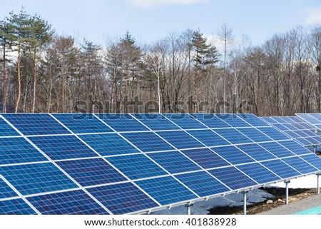 Solar energy panel station - stock photo