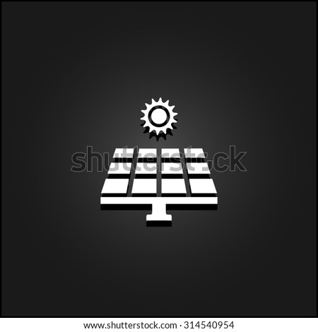 Solar energy panel. White flat simple icon illustration with shadow on a black background. Symbol for web and mobile applications for use as logo, pictogram, icon, infographic element - stock photo