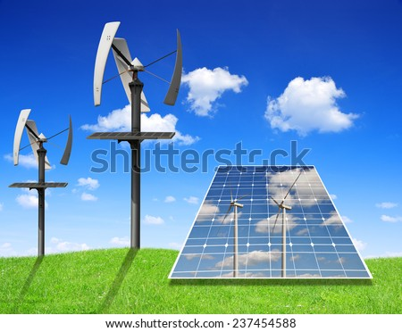 Solar energy panels and wind turbines. Green energy concept. - stock photo