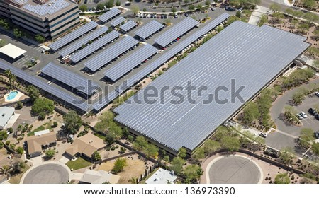Solar energy panels atop parking structures in Arizona - stock photo