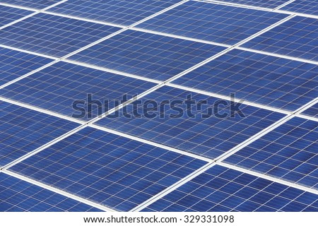 Solar energy panels in the power plant  - stock photo