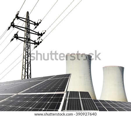 Solar energy panels, nuclear power plant and electricity pylon on white background. - stock photo