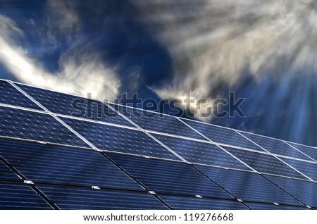 Solar energy panels, renewable solar energy .Sustainable development of the environment. - stock photo