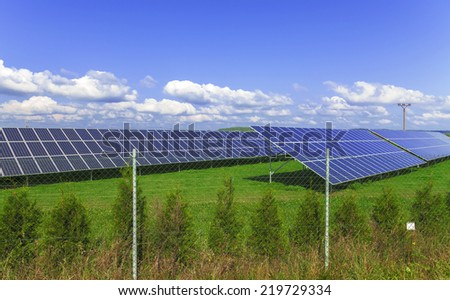 Solar energy panels with blue sky