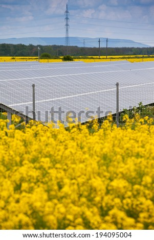 solar energy panels with canola field - stock photo