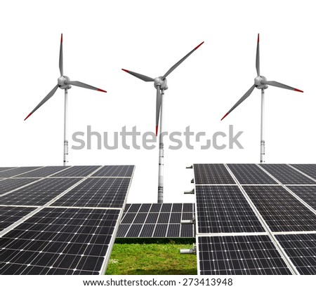 Solar energy panels with wind turbines on white background - stock photo