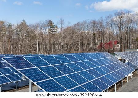 Solar energy plant station - stock photo