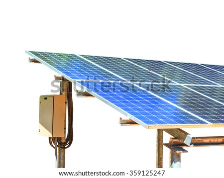 Solar energy plants on white.