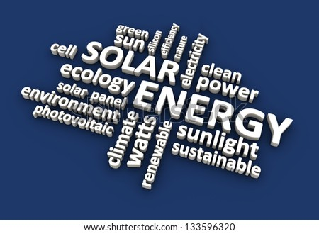 Solar energy related terms. - stock photo