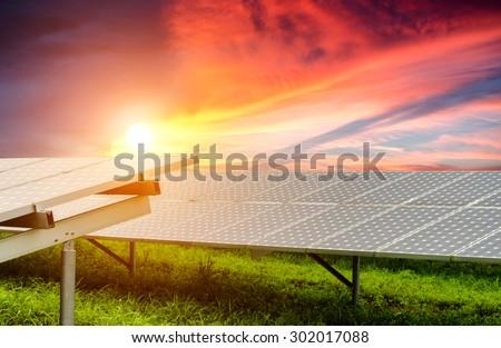 solar energy with sun , Clean energy , Solar power , Natural energy - stock photo