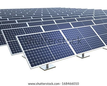 Solar farm on white background - stock photo