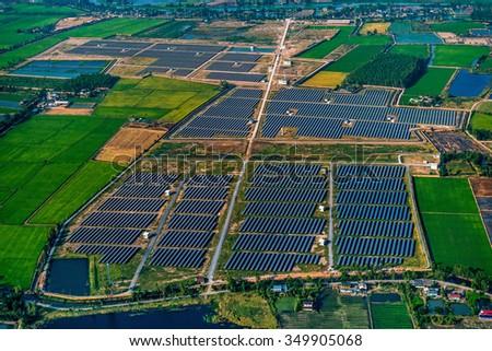 Solar farm Solar Panels - stock photo