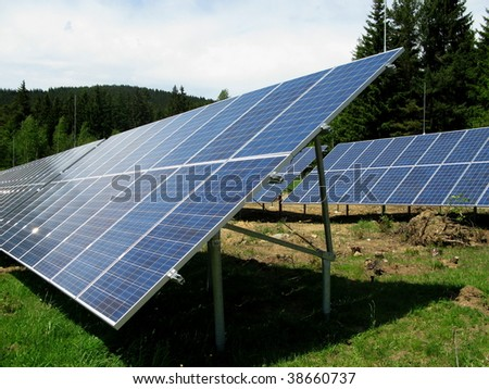 Solar field - photovoltaic power station - stock photo