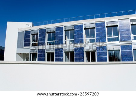 solar green house photovoltaic and ecological architecture - stock photo