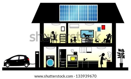Solar house - stock photo