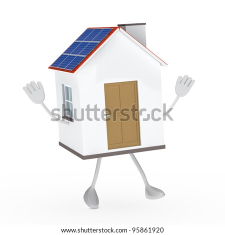 solar house figure jump and wave hands - stock photo