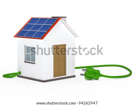 solar house with green plug cable inside
