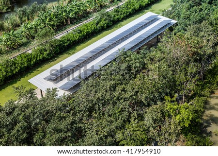 solar in forest - stock photo