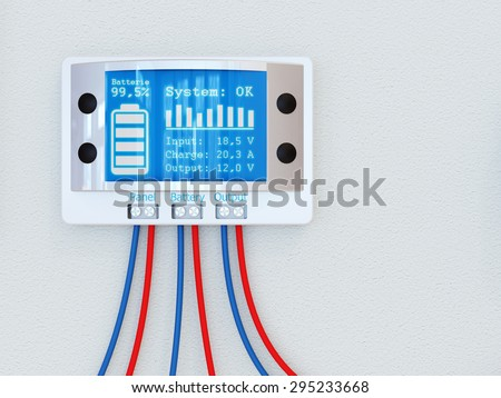 Solar kit concept - charge controller - stock photo