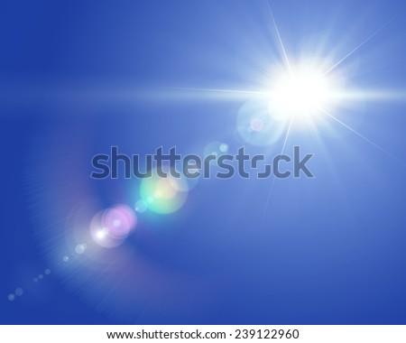 Solar lens flare - stock photo