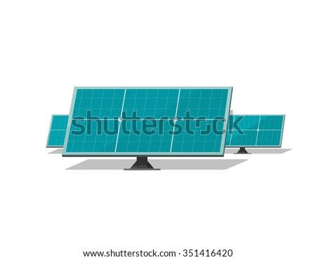 Solar modules flat illustration sun power panel energy system element, solar farm field cells, technology equipment label, industry production box sticker isolated on white, trend modern design image - stock photo