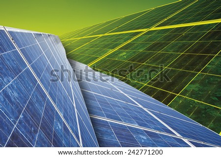 Solar panel against green background, close up.