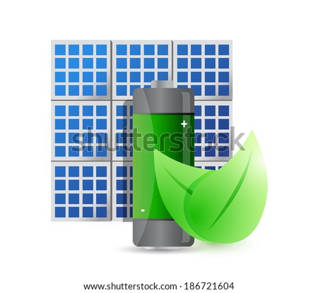 solar panel and eco battery illustration design over a white background - stock photo